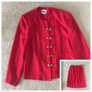 🌹2Piece Suit Ladies Jacket & Skirt Leslie Fay red